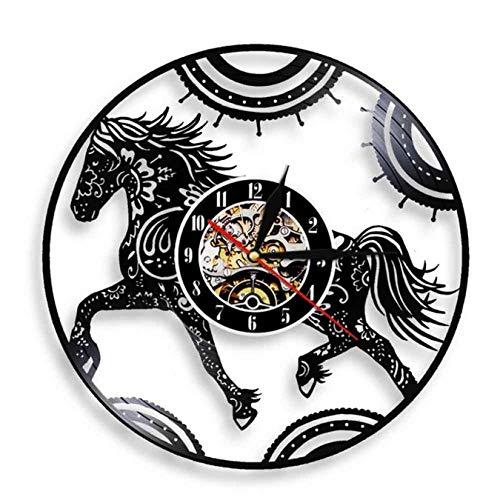 LWXJK Floral Mandala Caballo Reloj Mandala Caballo De La Pared De Arte Ecuestre Reloj De Pared Animales Vinilo Decorativo De Pared Reloj