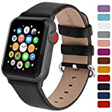 Fullmosa Genuine Leather Watch Band Compatible for Women Men Watch Series 5 Series 4 (40mm,44mm), Series 3/2/1 (38mm, 42mm) Sport and Edition with Silver Buckle, Black
