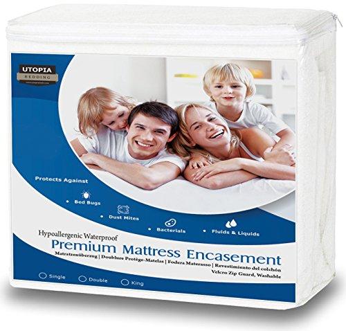 Hoogwaardige waterdichte matrasbedekking met rits - Matrashoes voor bedwantsen - Ruime opening met rits voor matrasbeschermer - Bescherming tegen vloeistoffen, insecten en stofmijten (King)