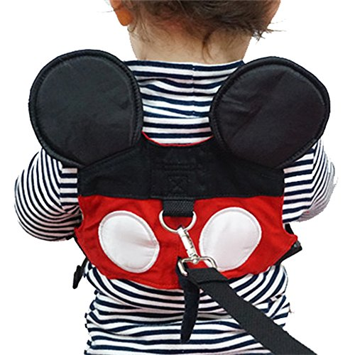 Toddler Leash & Harness, Yimidear Child Anti Lost Leash Baby Cute Safety Harness Belt Strap Hold Kids Close While Walking for Boys and Girls(Red)