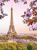 Mosaico de diamantes paisaje cuadrado completo Diy pintura de diamantes Torre Eiffel decoración de bordado de diamantes de imitación A13 30x40cm