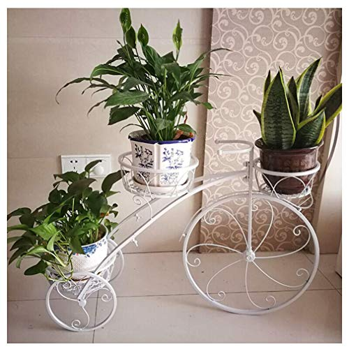 ZZTX European Plant Stands Indoor Tricycle Plant Stand - Flower pan Cart Holder - Wrought Iron Tricycle Standing Creative Flower Shelf Multi-Function Iron Flower Stand,Bicycle Metal Planter
