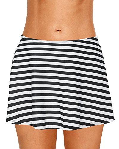 Dolamen Women Swim Skirt Shorts, 2018 Ladies Girls Swimwear Bottoms with Brief Short Skirted Mini Bikini Swimming Costumes Swimsuit Beachwear (XX-Large, Stripes)