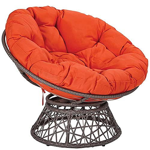 erddcbb Papasan Chair Cushion, Overstuffed Thick Breathable Seat Pad Comfortable Rest Pillow Round Floor Cushion for Garden Indoor Travel Hammocks Swings,Orange,40X40cm