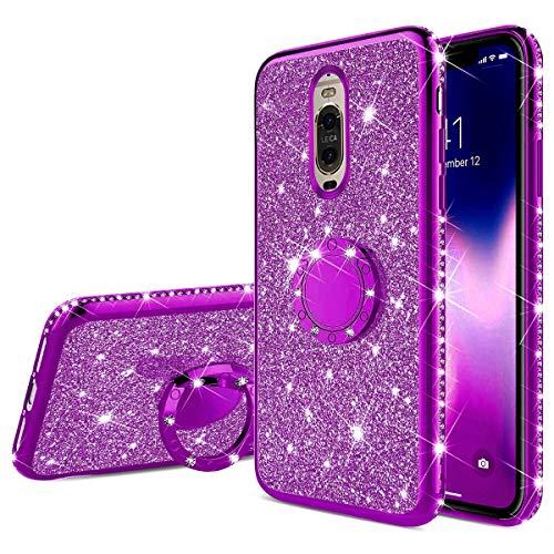 Jinghuash Funda de TPU Luxury Plating Compatible para Huawei Mate 9 Pro,Cubierta con Brillo de Diamante para Niñas Mujeres Telefono Movil Cover con 360 Rotación Grados Anillo
