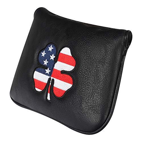 Craftsman Golf USA US Flag Clover Leather Black Mallet Putter Cover Headcover (Mallet)