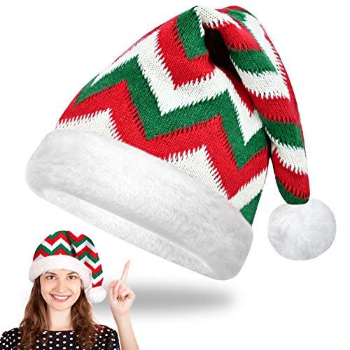 EKKONG Gorro Navideño Papá Noel Sombreros Navideño Cálido Suave Niño Adulto Unisex Gorros de Papa Noel Accesorios de Navidad para Regalos de Festividad