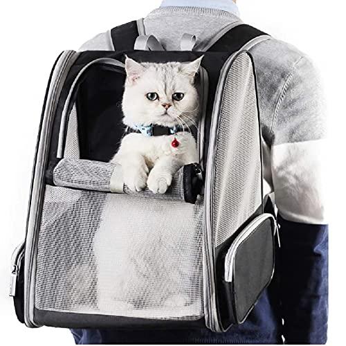 LEMLIT Meshed Pet Backpack Outdoor Pet Backpack Pet Carrier Back Comfortable Pet Shoulder Bag Pet Travel Bag with Pocket Light Safety Lock for Pets Under 6.5kg/229oz/14.3lb