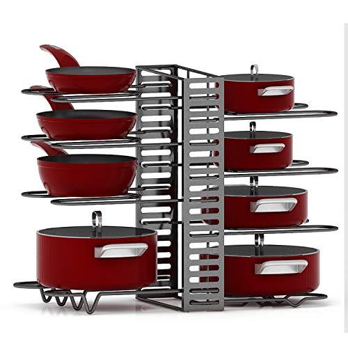 ShineTrust 8 Tiers Pots and Pans Organizer, Adjustable Pot Lid Holders & Pan Rack for Kitchen Counter and Cabinet, Lid Organizer for Pots and Pans With 3 DIY Methods