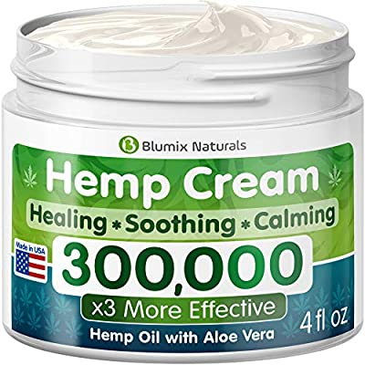 Hemp Cream for Pain Relief - 300000 - Made in USA - Hemp Oil & Menthol Blend - Cooling & Soothing Effect - For Inflammation, Joint, Back, Knee, Nerves Pain & Sore Muscles -100% Natural Hemp Extract by Blumix Naturals Inc.