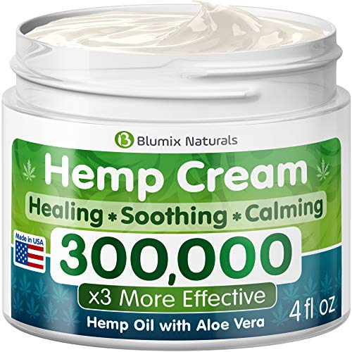 Hemp Cream for Pain Relief - 300000 - Made in USA - Hemp Oil & Menthol Blend - Cooling & Soothing Effect - For Inflammation, Joint, Back, Knee, Nerves Pain & Sore Muscles -100% Natural Hemp Extract
