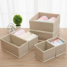 6PCS New Nonwoven Storage Container Foldable Drawer Divider Lidded Closet Box for Ties Socks Bra Underwear Clothing Organi...