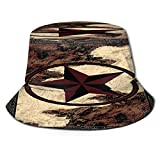 Sombrero de Pescador Unisex Western Texas Star Estilo Vintage Estrellas sobre Panel de Madera Estampado rústico Plegable De Sol/UV Gorra Protección para Playa Viaje Senderismo Camping