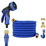 JAMIEWIN 25FT Short Garden Hose - Nature Latex Expandable Hose Pipes with 2