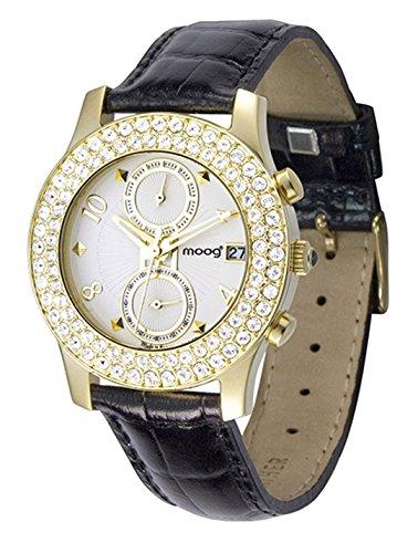 Moog Paris Heritage Reloj para Mujer con Esfera Champagne, Correa Negra de Piel Genuina y Cristales Swarovski - M45552-004