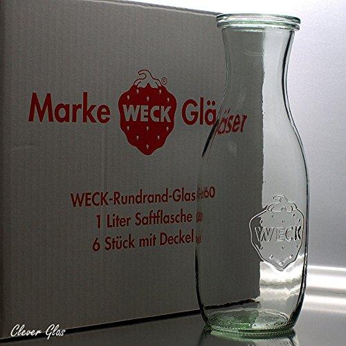 6 Weck Einkochgläser 1,0 Liter Saftflasche RR60 mit Glasdeckel im Original Weck Karton (Mit Glasdeckel)