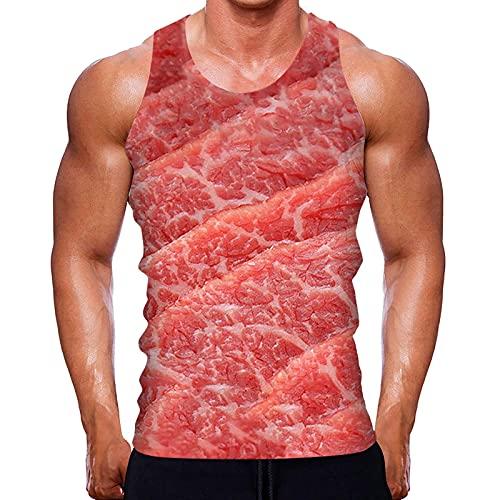 PLOK Camiseta sin mangas para hombre con estampado en toda la parte superior, estilo informal deportivo rosa XXXXXL
