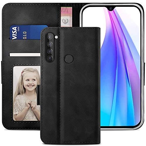 YATWIN Handyhülle Redmi Note 8T Hülle, Klapphülle Xiaomi Redmi Note 8T Premium Leder Brieftasche Schutzhülle [Kartenfach] [Magnet] [Stand] Handytasche Hülle für Redmi Note 8T, Schwarz