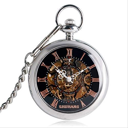 Reloj De Bolsillo De Cuerda Manual Números Reloj De Bolsillo Mecánico De La Cara Abierta Romana Línea Neckalce Colgante Mira El Reloj De Accesorios