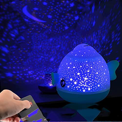 TAIZONG Proyector LED de cielo estrellado 2 en 1, luz de cielo estrellado, proyector de galaxia luminoso de familia planetario de cumpleaños, luz azul