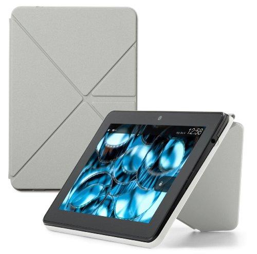 Amazon Kindle Fire HDX スタンド付き ORIGAMI 合皮 カバー/ケース グレー (Kindle Fire HDには対応してません)