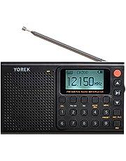 2021年NEWモデルYOREK AM/FM/SW充電式多機能録音ラジオ MP3再生可能ワイドFM対応多機能ラジオ スリープ機能付き イヤホン付き (録音ラジオ)