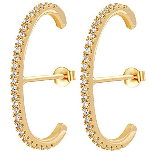 Creolen Gold Damen Ohrringe Zirkonia Manschette Ohrringe