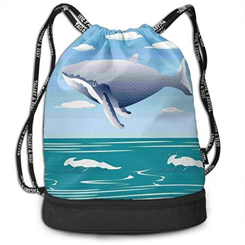 werert Ocean Sunny - Bolsa de Deporte con cordón para Yoga, diseño de Ballena Saltando, para Hombres y Mujeres
