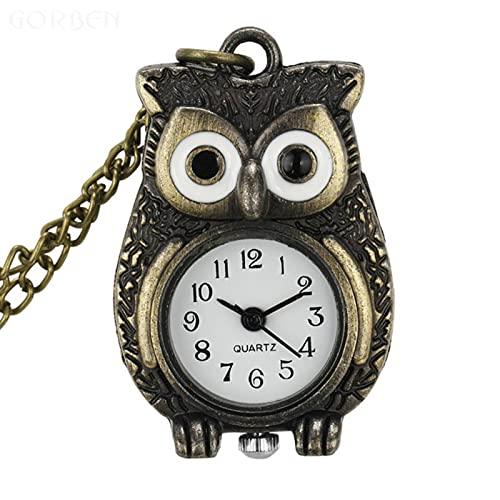 JTWMY Nette kleine Eule Taschenuhr Halskette Quarz Bronze Mini Taschenuhr mit Kettenanhänger Uhr-A