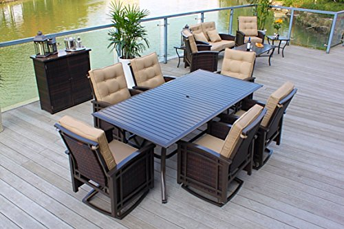 Pebble Lane Living 12 pc Outdoor Wicker and Aluminum Patio Dining Deep Seating Furnture Set - Bronze