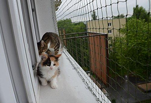 Bird-Tech Balkonnetz, Schwarz, für Katzen & Vögel, 5 x 5 m + 50 FastNet© + 1 Tube Silikon 80 ml ...