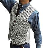 Solove-Suit Chaleco clásico de tweed para hombre, a cuadros, corte ajustado, para bodas plata 60