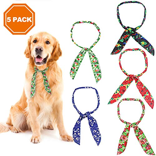 PAWCHIE 5 PCS Dog Ice Cool Bandanas, Puppy Summer Chill Out Neck Scarf Cooling Collar with Hawaii l Style for Small to Large Dog