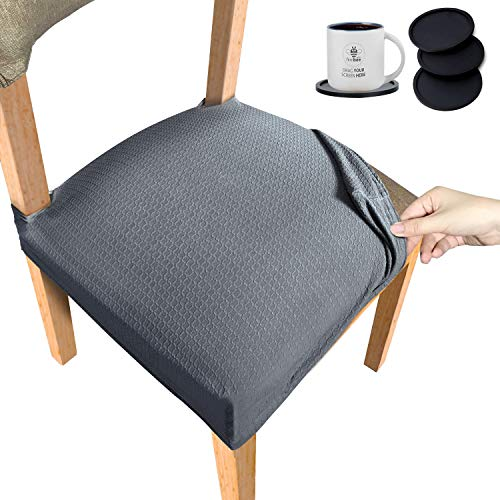 Stretch Spandex Jacquard Chair Seat Covers, 4 Pieces with Elastic Tie and Buttons, Waterproof, Removable and Dustproof Chair Cushion Covers, Used in Hotels, Offices, Parties, Kitchens, Gray