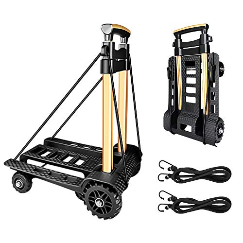 Folding Hand Truck Portable Trolley Dolly Compact Utility Luggage Cart with 70Kg/155Lbs Heavy Duty 4 Wheels Solid Construction Adjustable Handle for Moving Travel Shopping Office Use (BY04)