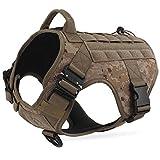 Dociote Taktisches Hundegeschirr militär mit Griff Brustring Camouflage no Pull Geschirr Sicherheitsgeschirr für mittelgroße große Hunde Braun L