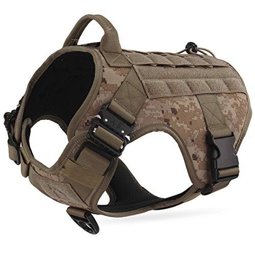 Dociote Taktisches Hundegeschirr militär mit Griff Brustring Camouflage no Pull Geschirr Sicherheitsgeschirr für mittelgroße große Hunde Braun M