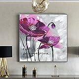 KWzEQ Abstracto Moderno Cartel Floral Lienzo Arte Nobles violetas para Sala de Estar decoración del hogar,Pintura sin Marco,75x75cm