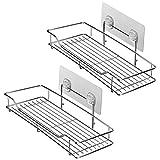 HOMEIDEAS Adhesive Bathroom Shelf Wall Mounted Shower Caddy 2-Pack No Drilling Basket Shelf, SUS304 Stainless Steel, Rustproof, Heavy Duty