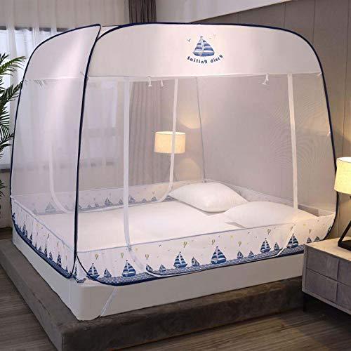 Lloow Tragbare Yurt-Moskitonetze, Kostenlose Installation Square Top Moskitonabdeckung, Dreitürige Moskito-Campingvorhang, Anti-Fall-Bett, Für Familien- / Schlafsaal/Camping,E,150 * 200cm