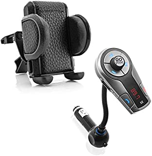GOgroove FlexSMART X2 Bluetooth FM Transmitter for Car Radio with Hands Free Microphone AND Car Mount Air Vent Phone Holder Cradle with Adjustable Display and 360 Degree Rotation 2-IN-1 Bundle Package
