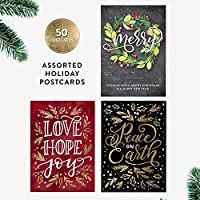 50 Holiday Postcards, Merry, Hand-Lettered Merry Christmas Postcard Set, Hand-lettered Holiday Postcards, Happy New Year Postcards, Season's Greetings Postcards [並行輸入品]