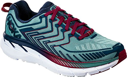 HOKA ONE ONE Womens Clifton 4 Blue Coral/Ceramic Running Shoe - 8