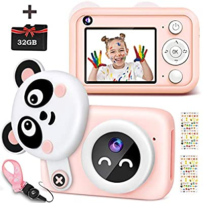 Kids Selfie Camera, 1080P HD Digital Dual Video Cameras for Toddler, Best Birthday Gifts for Boys, Portable Toy for 3 4 5 6 7 8 9 Year Old Boy, Rechargeable Blue Electronic Camera with 32GB TF Card by