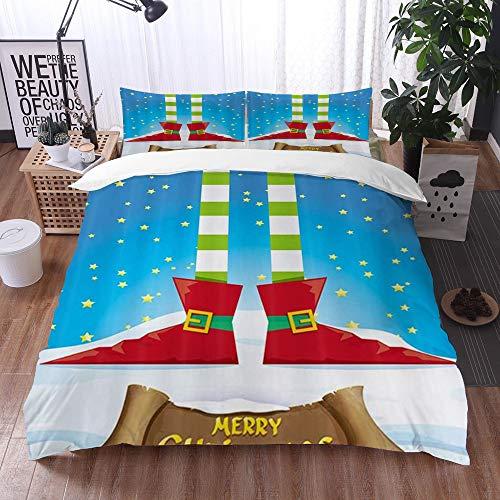 Set Biancheria da letto, microfibra con lenzuolo,Festival di Natale di inverno Gambe di elfi dei...