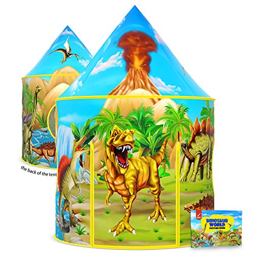 Dinosaurier-Kinderzelt mit Dinosaurier-Malbuch, aufklappbares Spielzelt für Kinder, Dinosaurier-Spielzeuge & Geschenke für Kinder Jungen & Mädchen, Spielhaus für Kinder Innen- und Aussenspiele