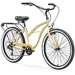 commercial Sixthreezero All Round Block Single Speed Women's Beach Cruiser, 26 Inch Wheels, Cream S… women cruiser bike