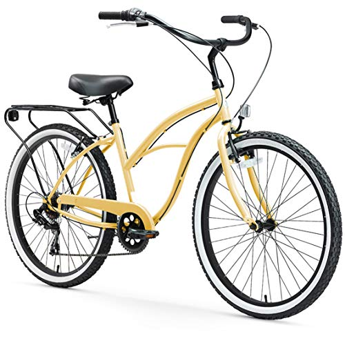 sixthreezero Around The Block Women's 7-Speed Beach Cruiser Bicycle, 26' Wheels, Cream with Black Seat and Grips