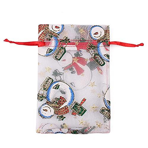 LIUXIA 10 Stück Weihnachten Organza Taschen Candy Geschenk Sheer Bag Schmuck Hochzeitsfeier...