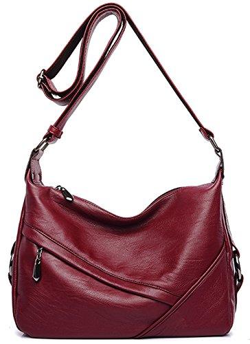 Women's Retro Sling Shoulder Bag from Covelin, Leather Crossbody Tote Handbag Wine Red